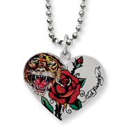 Ed Hardy Stainless Steel Tiger Rose Heart Necklace