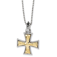 Ed Hardy Stainless Steel & Bronze Maltese Cross 2-Tone Necklace