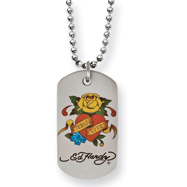 Ed Hardy Stainless Steel Eternal Love Rose Dog Tag Necklace