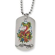 Ed Hardy Stainless Steel Cobra & Roses Dog Tag Necklace