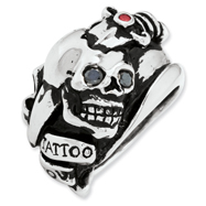 Ed Hardy Stainless Steel Black And Ruby Cubic Zirconia Skull Ring