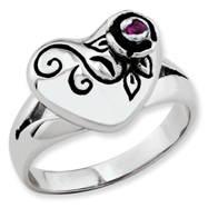 Ed Hardy Stainless Steel Heart & Small Rose With Red Cubic Zirconia Ring
