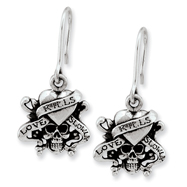 Ed Hardy Stainless Steel Love Kills Slowly Wire Earrings