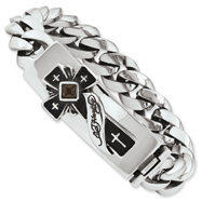 Ed Hardy Stainless Steel Cross With Smokey Quartz Bracelet