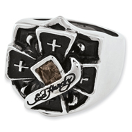 Ed Hardy Stainless Steel Cross With Smokey Quartz Ring