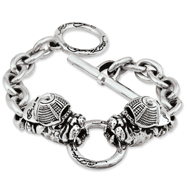 Ed Hardy Stainless Steel Bull Dog With Hat Toggle Bracelet