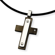 Stainless Steel Cubic Zirconia Accent Black Color IP-plated Cross Pendant Necklace