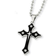Stainless Steel Cubic Zirconia And Enameled Cross Pendant Necklace