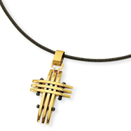 Stainless Steel Gold Color IP-plated Cross Pendant Necklace