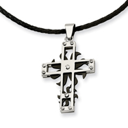 Stainless Steel And Black IP-plated Spinner Cross Pendant