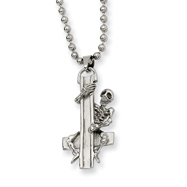 Stainless Steel Skeleton Hugging Cross Pendant Necklace