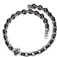 Stainless Steel And Black IP-plated Skull With Cubic Zirconia Necklace