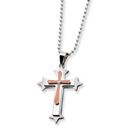 Stainless Steel And Chocolate IP-plated Cubic Zirconia Cross Necklace