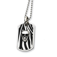 Stainless Steel Enameled Skull Dog Tag Necklace