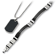 Stainless Steel Black Carbon Fiber Necklace And Bracelet Set