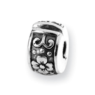 Sterling Silver Reflections Hinged Floral Clip Bead