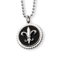 Titanium With Black Enamel Fleur De Lis Necklace