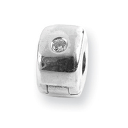 Sterling Silver Reflections Hinged CZ Clip Bead