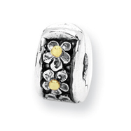 Sterling Silver & 14K Gold Reflections Hinged Floral Clip Bead