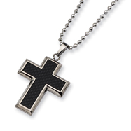 Titanium Carbon Fiber Cross Necklace