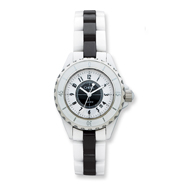 Ladies Chisel White And Black Ceramic And Dial Watch