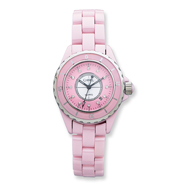 Ladies Chisel Pink Ceramic And Pink And White Dial Watch