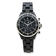 Mens Chisel Black Ceramic and Dial Chronograph Watch