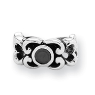 Sterling Silver Reflections Black CZ Connector Bead