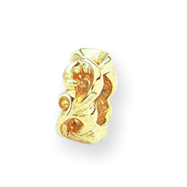 14k Reflections Scroll Bali Bead