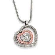Stainless Steel And IP-plated Cubic Zirconia Heart Pendant Necklace