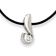 Stainless Steel Cubic Zirconia Pendant Necklace