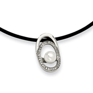 Stainless Steel Culutured Pearl & Cubic Zirconia Pendant Necklace