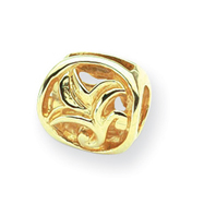 14K Gold Reflections Leaf Design Bali Bead