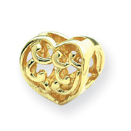 14K Gold Reflections Scroll Heart Bead