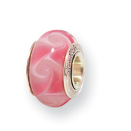 Sterling Silver Reflections Kids Pale Pink Murano Glass Bead