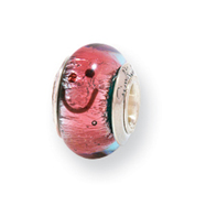 Sterling Silver Reflections Kids Pink Smiley Murano Glass Bead