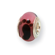 Sterling Silver Reflections Kids Pink Foot Murano Glass Bead