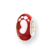 Sterling Silver Reflections Kids Red Foot Murano Glass Bead