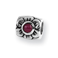 Sterling Silver Reflections Red Cubic Zirconia Bead
