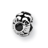 Sterling Silver Reflections Black Cubic Zirconia Bead