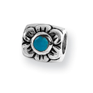 Sterling Silver Reflections Turquoise Cubic Zirconia Bead