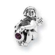 Sterling Silver Reflections February Cubic Zirconia Antiqued Bead