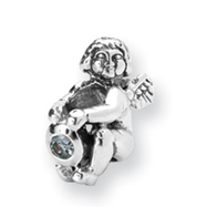 Sterling Silver Reflections March Cubic Zirconia Antiqued Bead