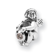 Sterling Silver Reflections April Cubic Zirconia Antiqued Bead