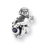 Sterling Silver Reflections September Cubic Zirconia Antiqued Bead