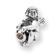 Sterling Silver Reflections October Cubic Zirconia Antiqued Bead