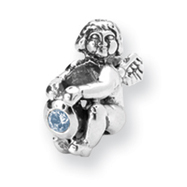 Sterling Silver Reflections December Cubic Zirconia Antiqued Bead