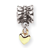 Sterling Silver & 14K Gold Reflections Heart Dangle Bead