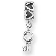 Sterling Silver Reflections Key Dangle With Hearts Bead