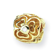 14K Gold & .015ct Diamond Reflections Floral Bead